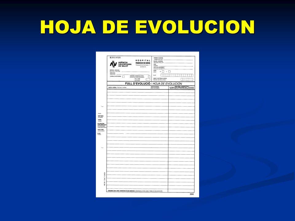 HOJA DE EVOLUCION