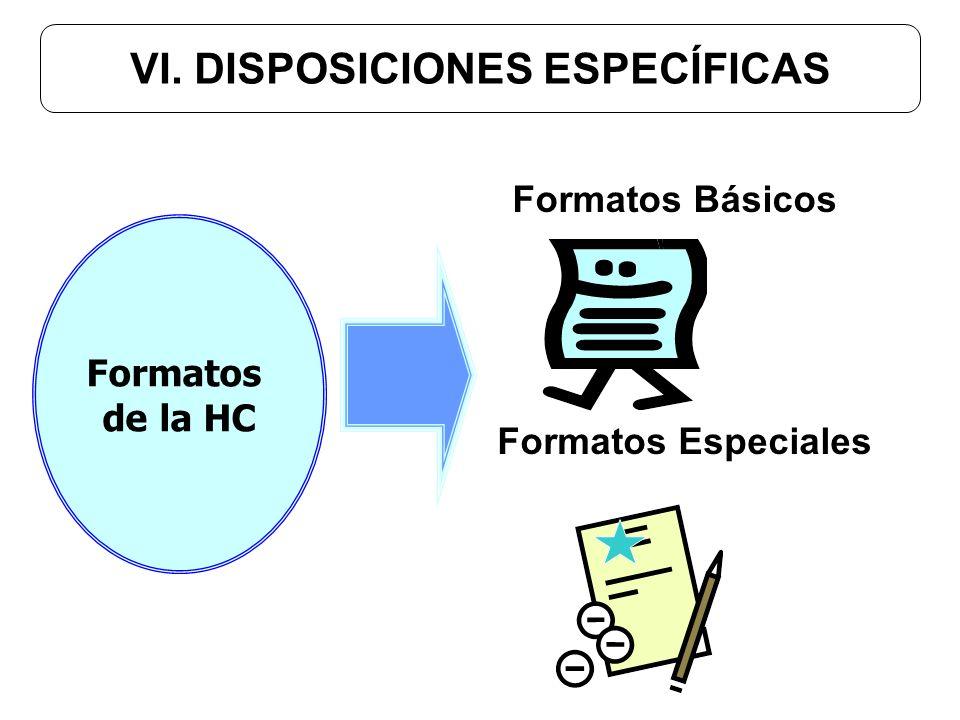 VI. DISPOSICIONES ESPECÍFICAS Formatos Básicos Formatos Especiales Formatos de la HC