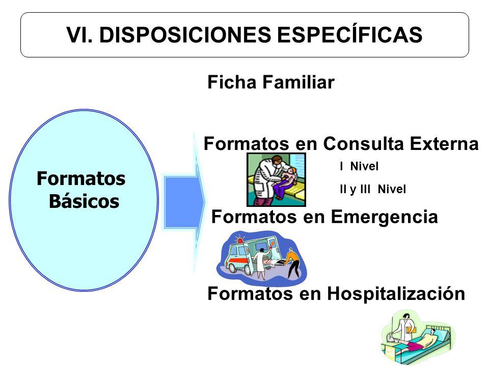 VI. DISPOSICIONES ESPECÍFICAS Formatos en Hospitalización Formatos en Emergencia Ficha Familiar Formatos en Consulta Externa I Nivel II y III Nivel Fo