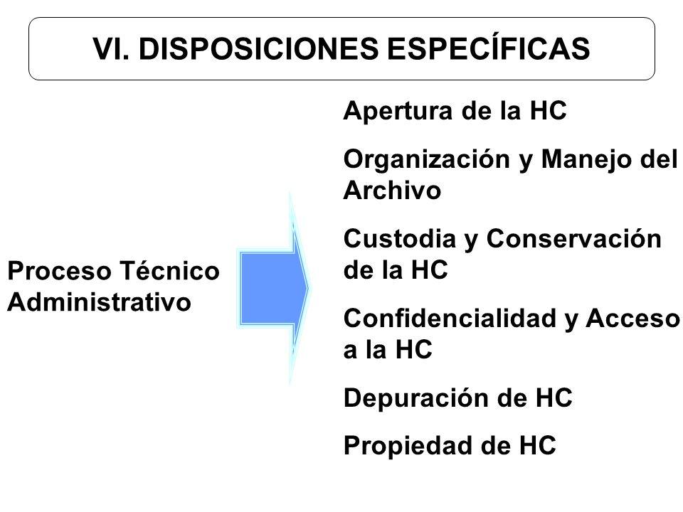 VI. DISPOSICIONES ESPECÍFICAS Apertura de la HC Organización y Manejo del Archivo Custodia y Conservación de la HC Confidencialidad y Acceso a la HC D