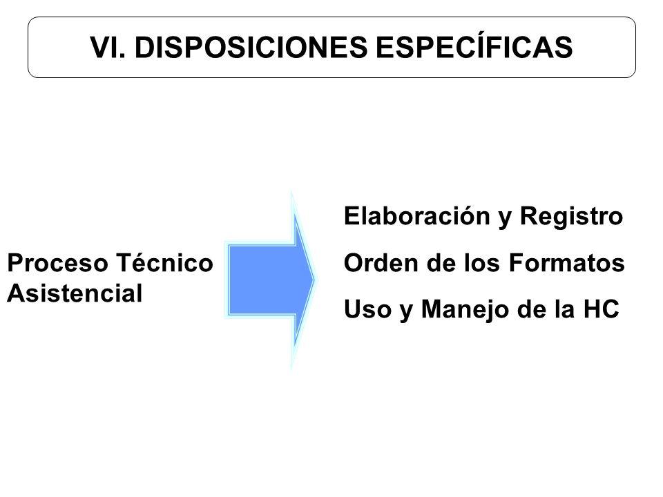 VI. DISPOSICIONES ESPECÍFICAS Elaboración y Registro Orden de los Formatos Uso y Manejo de la HC Proceso Técnico Asistencial
