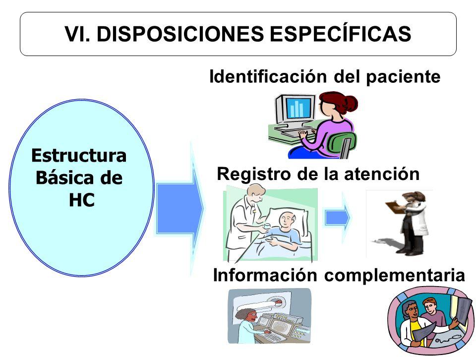 VI. DISPOSICIONES ESPECÍFICAS Identificación del paciente Registro de la atención Información complementaria Estructura Básica de HC