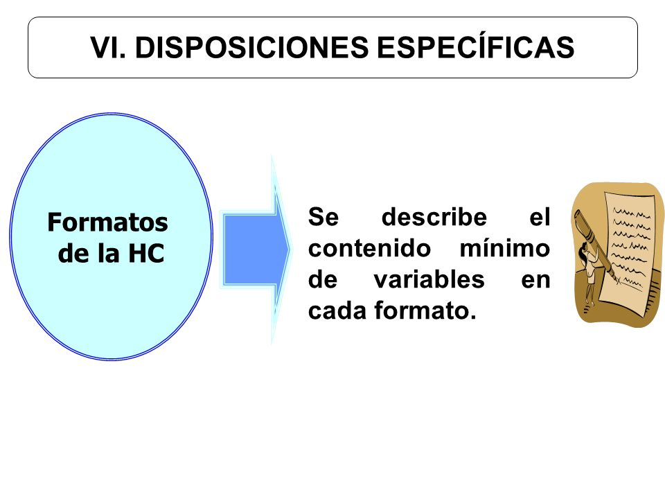 VI. DISPOSICIONES ESPECÍFICAS Se describe el contenido mínimo de variables en cada formato. Formatos de la HC