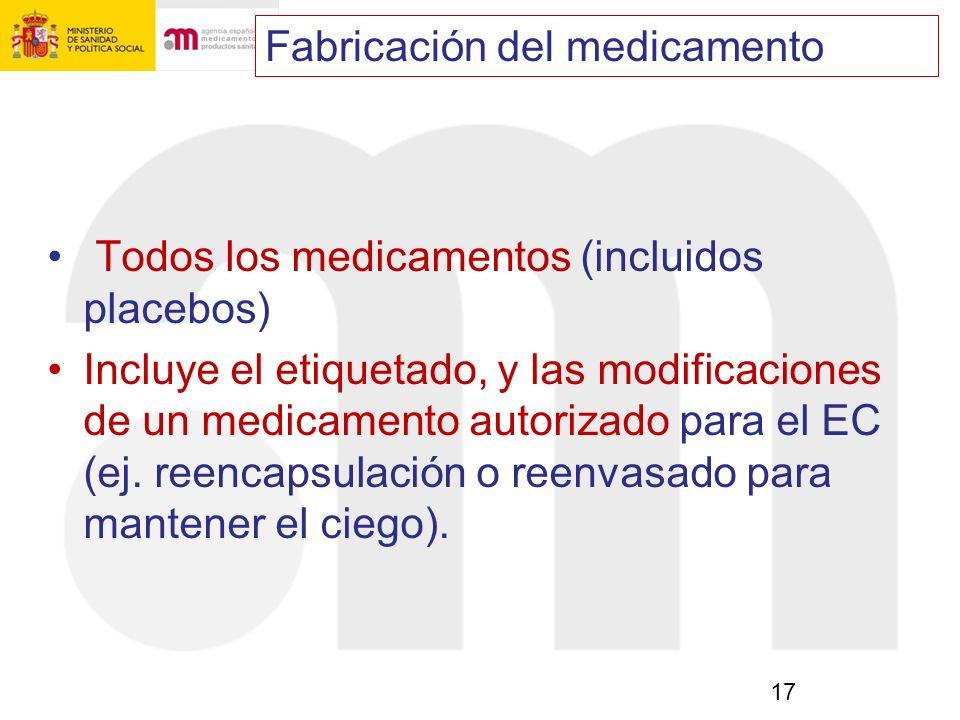 17 Todos los medicamentos (incluidos placebos) Incluye el etiquetado, y las modificaciones de un medicamento autorizado para el EC (ej. reencapsulació