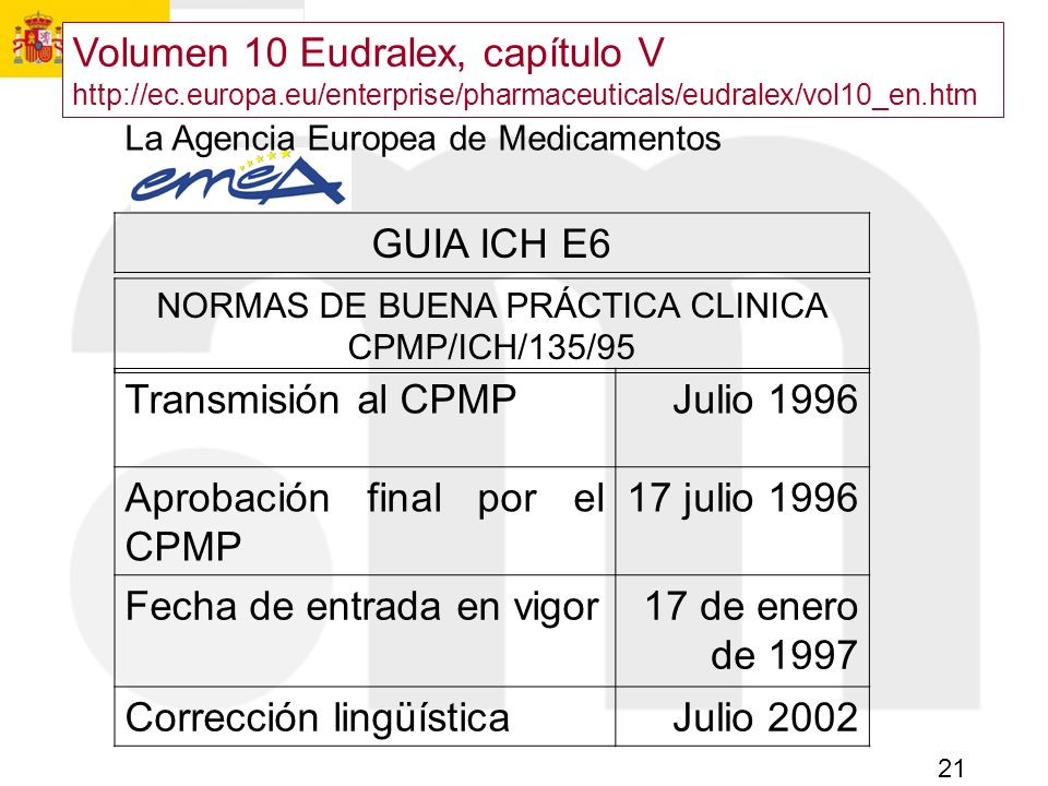 21 La Agencia Europea de Medicamentos GUIA ICH E6 NORMAS DE BUENA PRÁCTICA CLINICA CPMP/ICH/135/95 Transmisión al CPMPJulio 1996 Aprobación final por