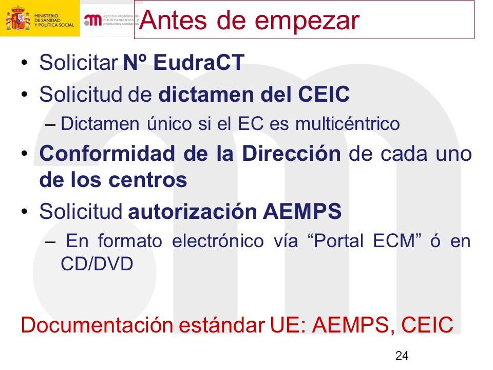 24 Solicitar Nº EudraCT Solicitud de dictamen del CEIC –Dictamen único si el EC es multicéntrico Conformidad de la Dirección de cada uno de los centro