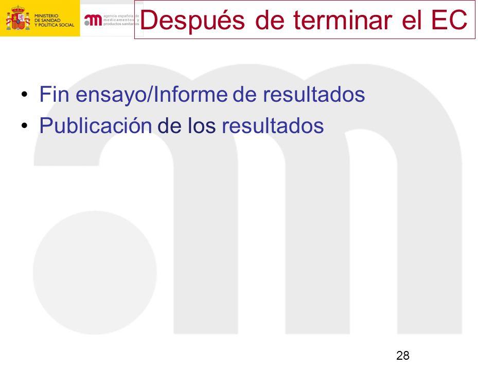 28 Fin ensayo/Informe de resultados Publicación de los resultados Después de terminar el EC