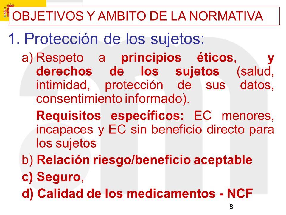 8 1.Protección de los sujetos: a)Respeto a principios éticos, y derechos de los sujetos (salud, intimidad, protección de sus datos, consentimiento inf