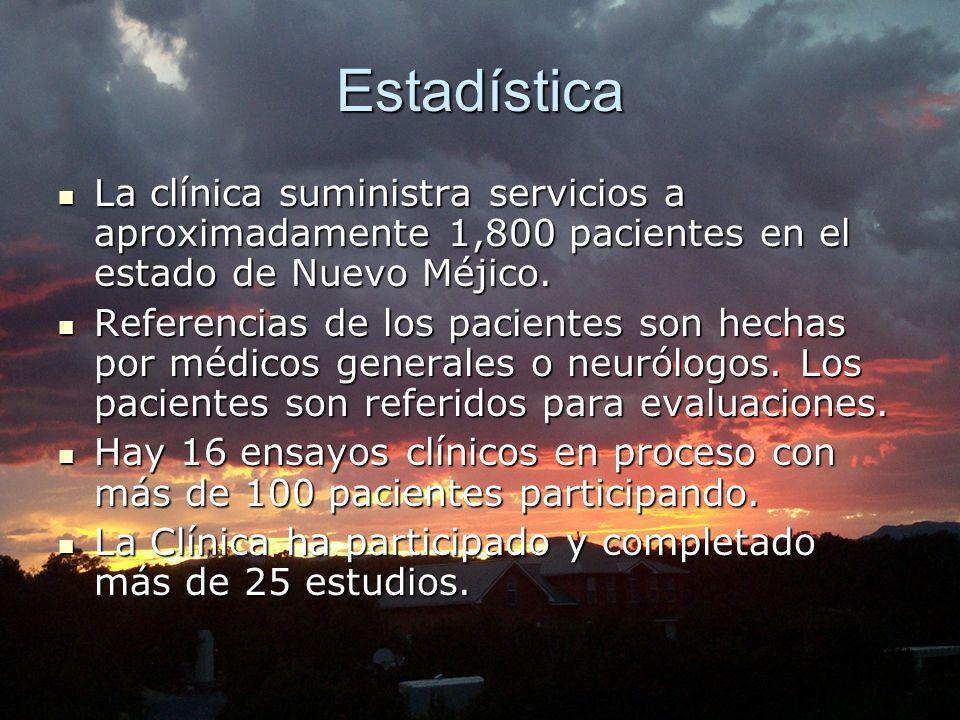 Estadística La La clínica suministra servicios a aproximadamente 1,800 pacientes en el estado de Nuevo Méjico. Referencias Referencias de los paciente