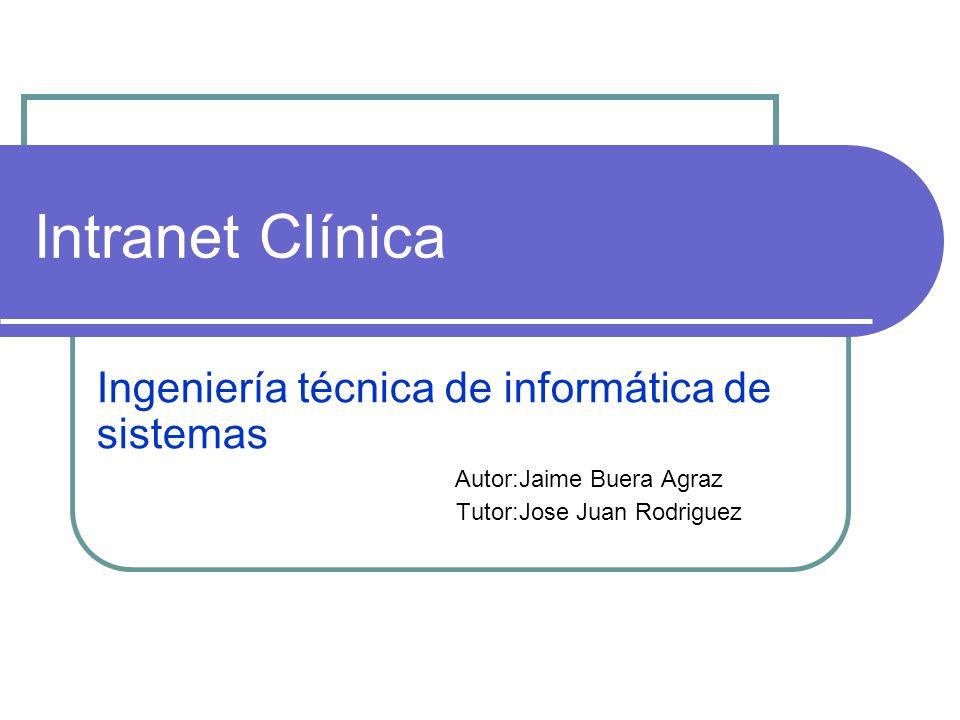 Intranet Clínica Ingeniería técnica de informática de sistemas Autor:Jaime Buera Agraz Tutor:Jose Juan Rodriguez