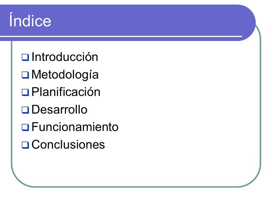 Índice Introducción Metodología Planificación Desarrollo Funcionamiento Conclusiones