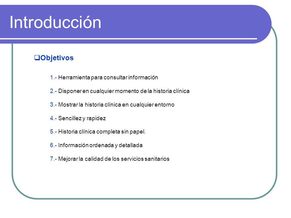 Introducción Objetivos 1.- Herramienta para consultar información 2.- Disponer en cualquier momento de la historia clínica 3.- Mostrar la historia clí
