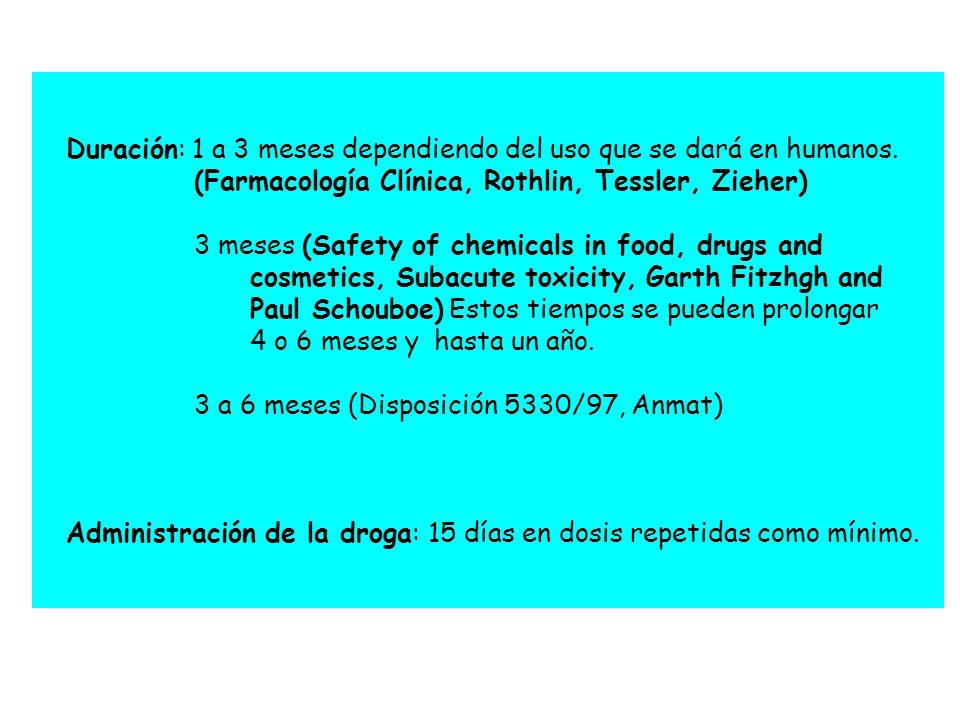 Duración: 1 a 3 meses dependiendo del uso que se dará en humanos. (Farmacología Clínica, Rothlin, Tessler, Zieher) 3 meses (Safety of chemicals in foo