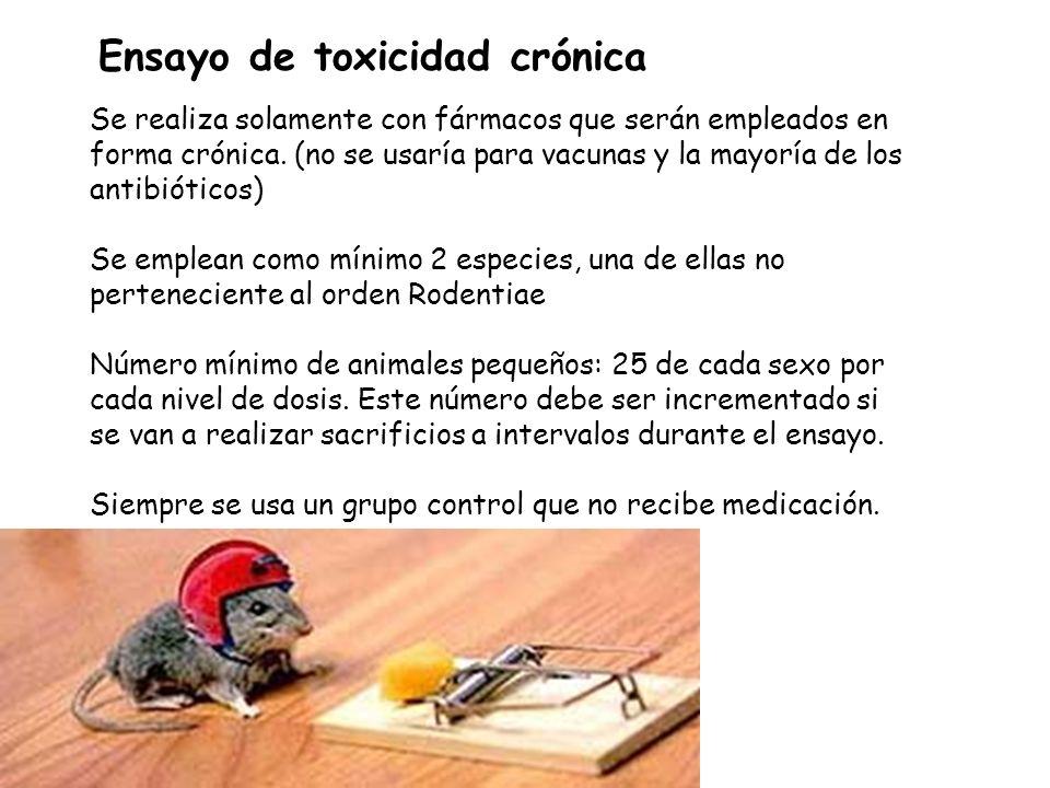 Ensayo de toxicidad crónica Se realiza solamente con fármacos que serán empleados en forma crónica. (no se usaría para vacunas y la mayoría de los ant