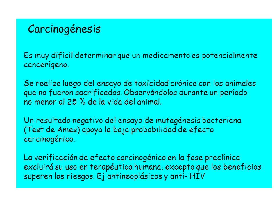 Es muy difícil determinar que un medicamento es potencialmente cancerígeno. Se realiza luego del ensayo de toxicidad crónica con los animales que no f