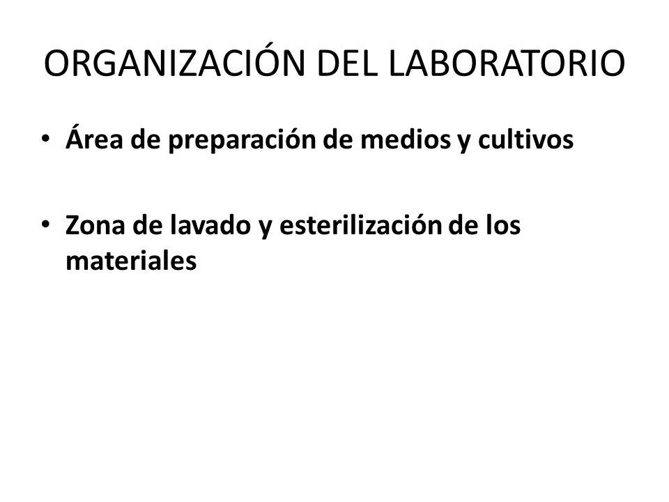 ORGANIZACIÓN DEL LABORATORIO Área de preparación de medios y cultivos Zona de lavado y esterilización de los materiales