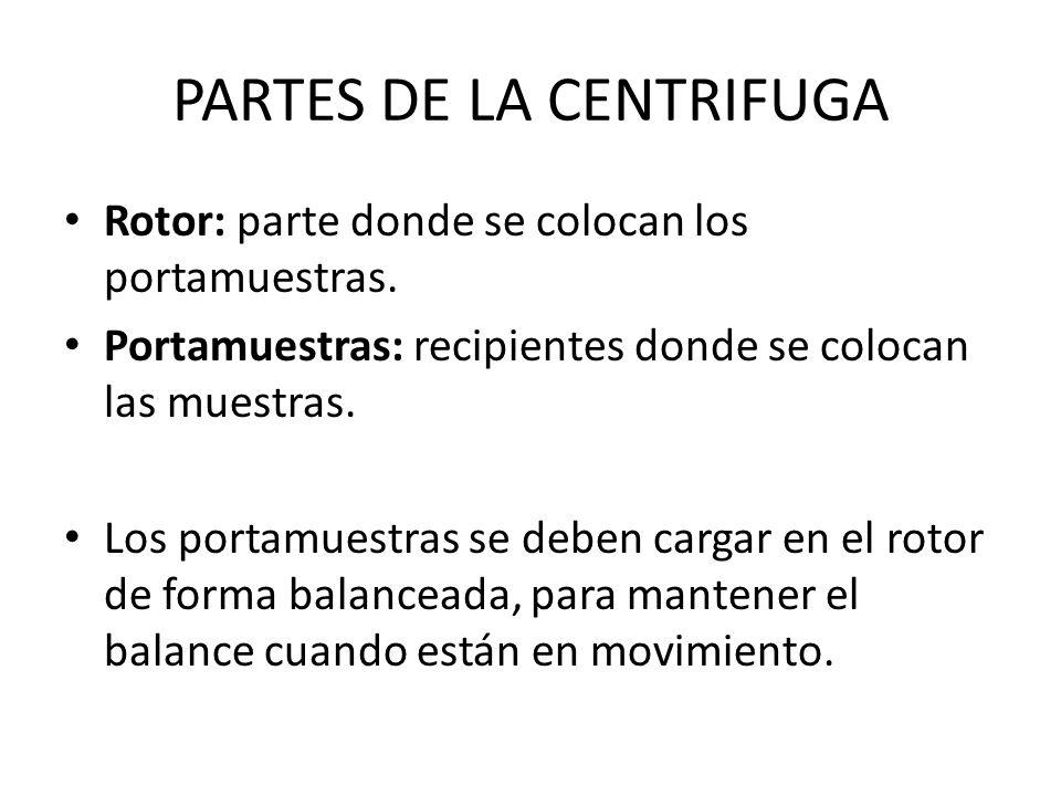 PARTES DE LA CENTRIFUGA Rotor: parte donde se colocan los portamuestras. Portamuestras: recipientes donde se colocan las muestras. Los portamuestras s