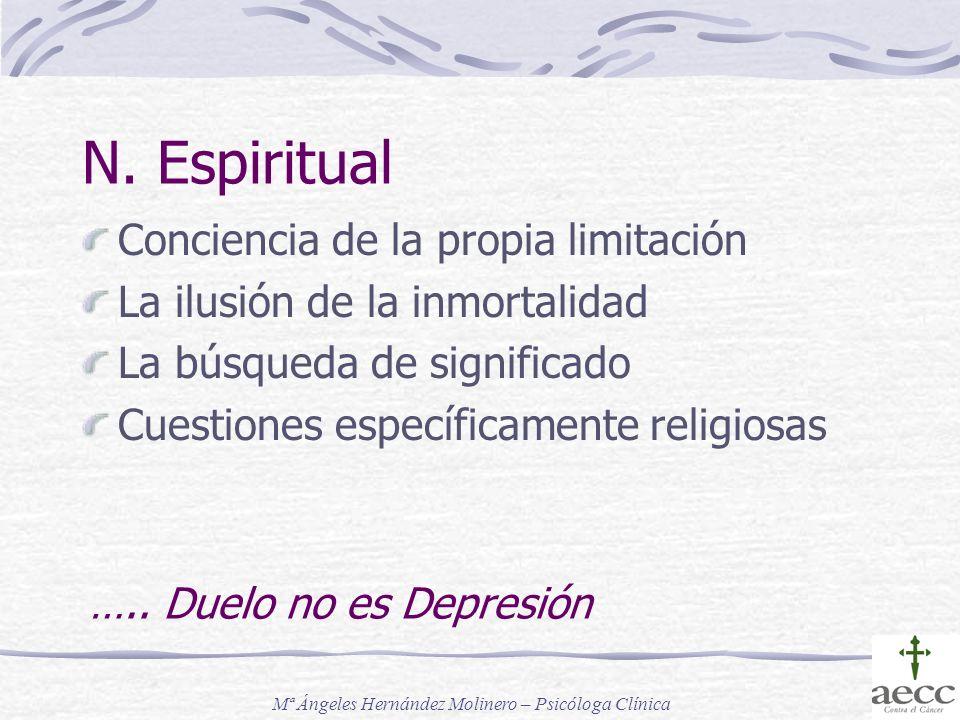 N. Espiritual Conciencia de la propia limitación La ilusión de la inmortalidad La búsqueda de significado Cuestiones específicamente religiosas ….. Du