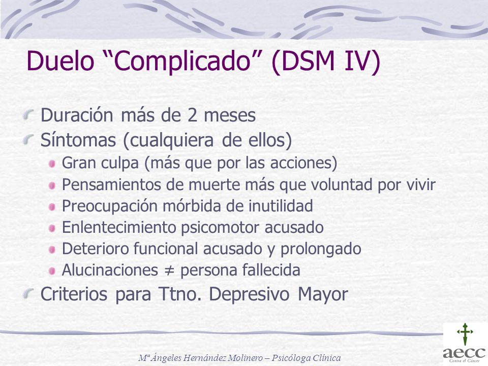 Duelo Complicado (DSM IV) Duración más de 2 meses Síntomas (cualquiera de ellos) Gran culpa (más que por las acciones) Pensamientos de muerte más que