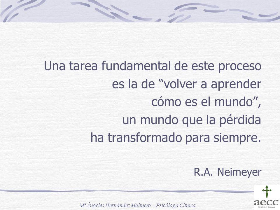Una tarea fundamental de este proceso es la de volver a aprender cómo es el mundo, un mundo que la pérdida ha transformado para siempre. R.A. Neimeyer