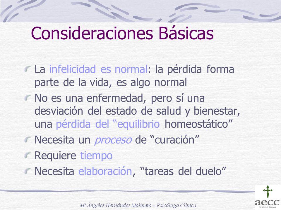 Consideraciones Básicas La infelicidad es normal: la pérdida forma parte de la vida, es algo normal No es una enfermedad, pero sí una desviación del e