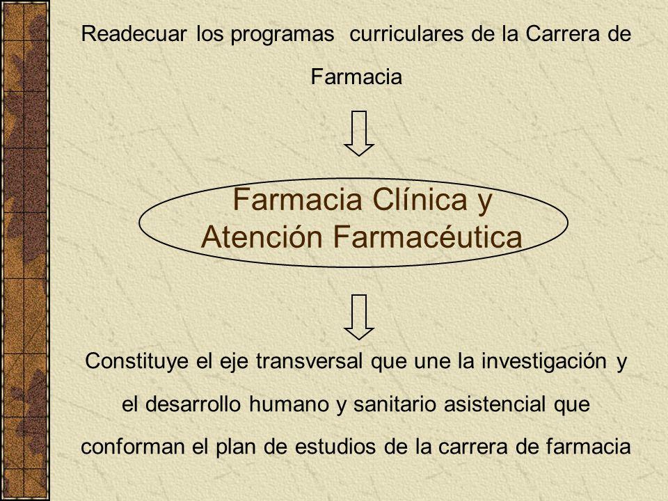 Farmacia Clínica y Atención Farmacéutica Readecuar los programas curriculares de la Carrera de Farmacia Constituye el eje transversal que une la inves