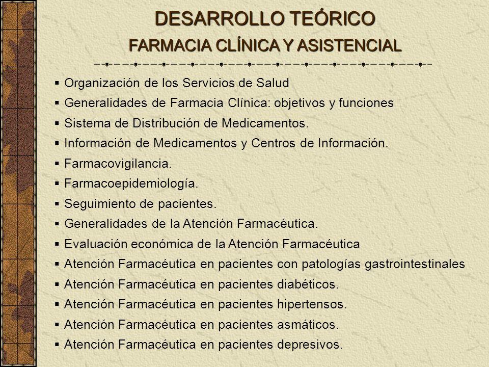 Organización de los Servicios de Salud Generalidades de Farmacia Clínica: objetivos y funciones Sistema de Distribución de Medicamentos. Información d