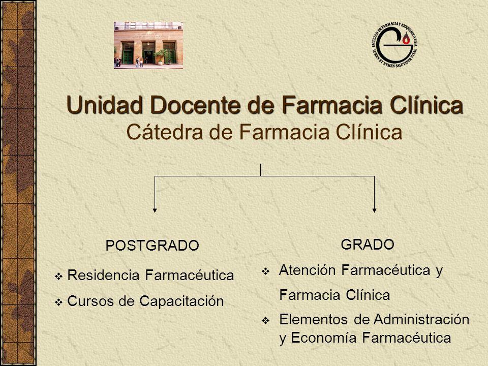 Unidad Docente de Farmacia Clínica Unidad Docente de Farmacia Clínica Cátedra de Farmacia Clínica POSTGRADO Residencia Farmacéutica Cursos de Capacita