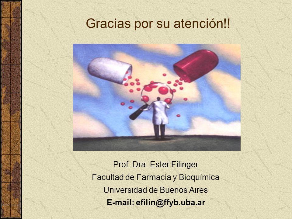 Gracias por su atención!! Prof. Dra. Ester Filinger Facultad de Farmacia y Bioquímica Universidad de Buenos Aires E-mail: efilin@ffyb.uba.ar