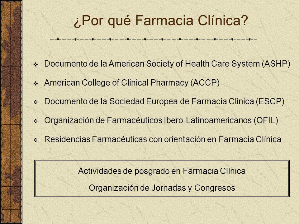 ¿Por qué Farmacia Clínica? Documento de la American Society of Health Care System (ASHP) American College of Clinical Pharmacy (ACCP) Documento de la