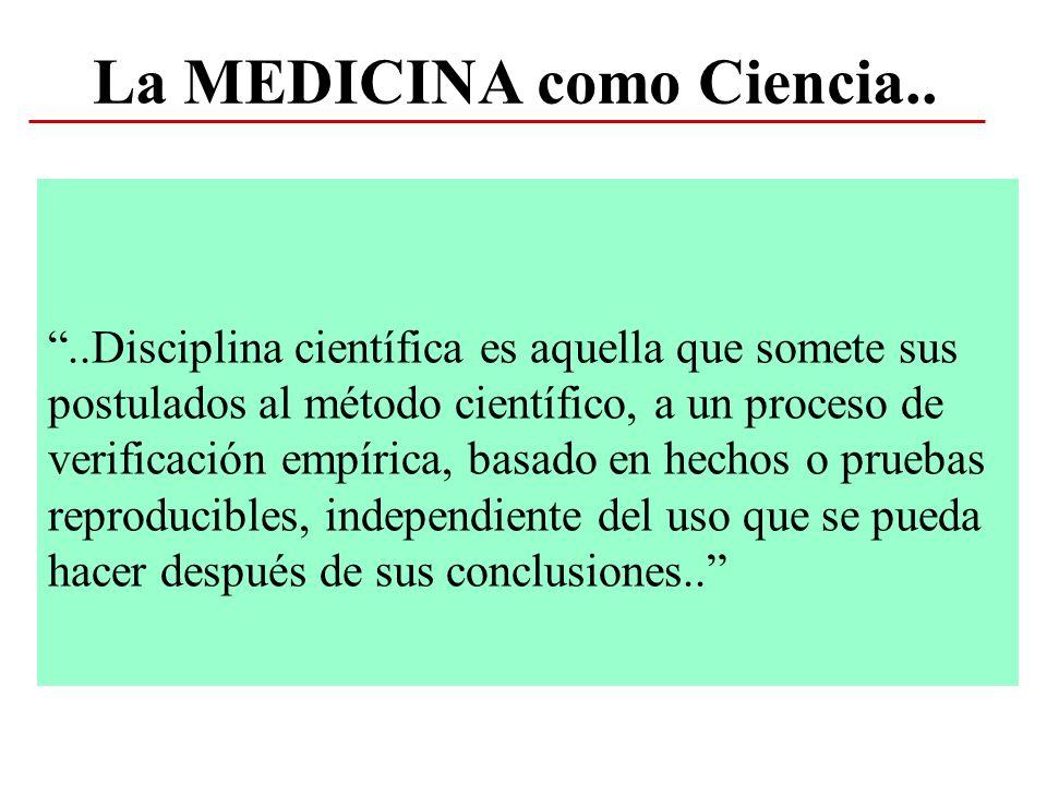 MEDICINA BASADA EN LA EVIDENCIA (Evidence Based Medicine) Años 80, Canadá: Mc Master Medical School, importancia de la revisión de las pruebas procedentes de la investigación e interpretación cautelosa de las observaciones no sistemáticas.