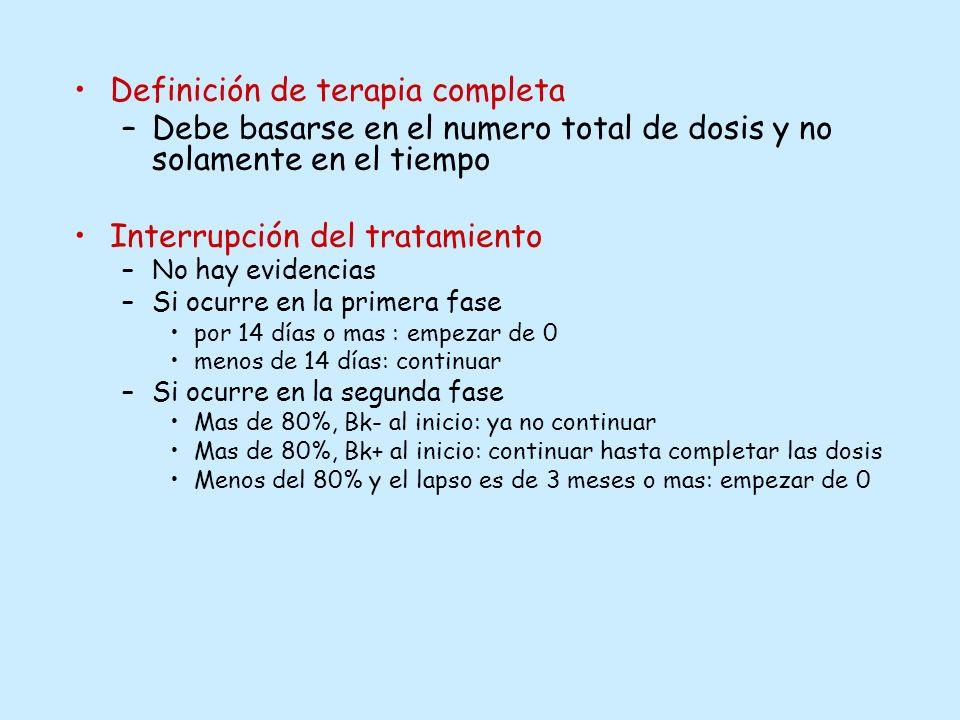 Definición de terapia completa –Debe basarse en el numero total de dosis y no solamente en el tiempo Interrupción del tratamiento –No hay evidencias –