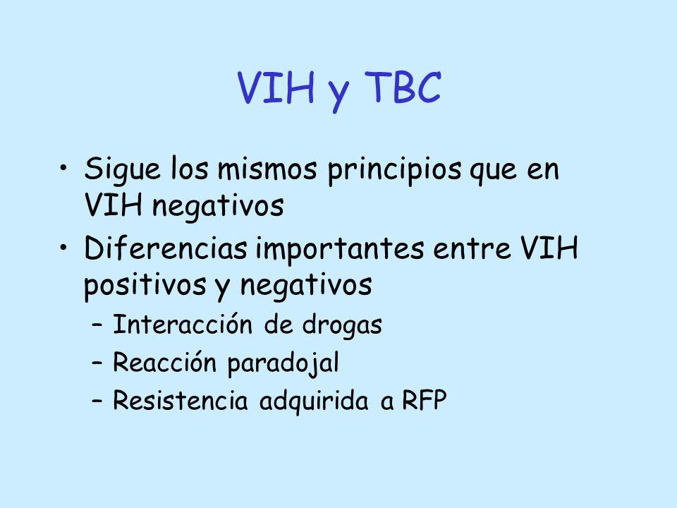 VIH y TBC Sigue los mismos principios que en VIH negativos Diferencias importantes entre VIH positivos y negativos –Interacción de drogas –Reacción pa