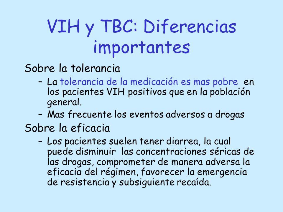 VIH y TBC: Diferencias importantes Sobre la tolerancia –La tolerancia de la medicación es mas pobre en los pacientes VIH positivos que en la población