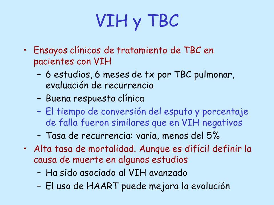 Ensayos clínicos de tratamiento de TBC en pacientes con VIH –6 estudios, 6 meses de tx por TBC pulmonar, evaluación de recurrencia –Buena respuesta cl