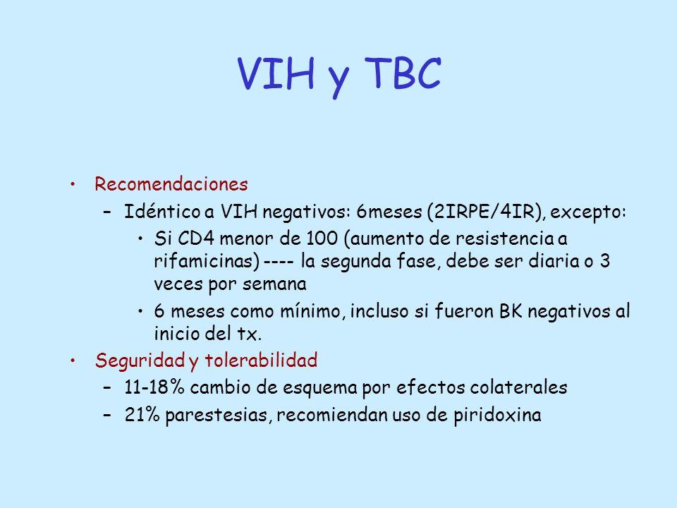 Recomendaciones –Idéntico a VIH negativos: 6meses (2IRPE/4IR), excepto: Si CD4 menor de 100 (aumento de resistencia a rifamicinas) ---- la segunda fas