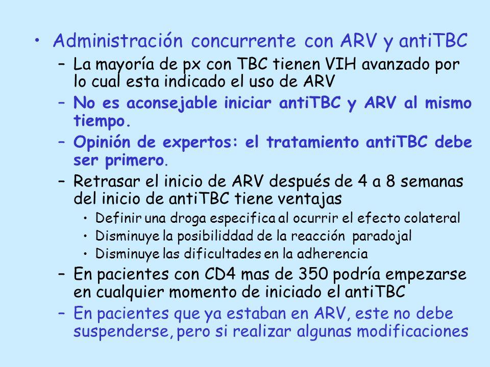 Administración concurrente con ARV y antiTBC –La mayoría de px con TBC tienen VIH avanzado por lo cual esta indicado el uso de ARV –No es aconsejable