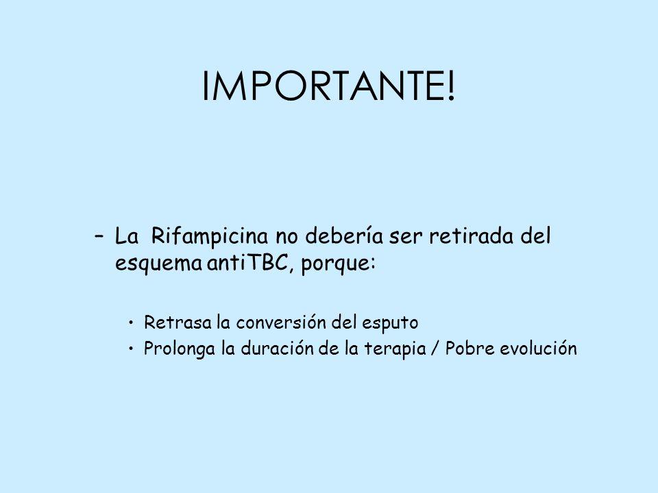 IMPORTANTE! –La Rifampicina no debería ser retirada del esquema antiTBC, porque: Retrasa la conversión del esputo Prolonga la duración de la terapia /