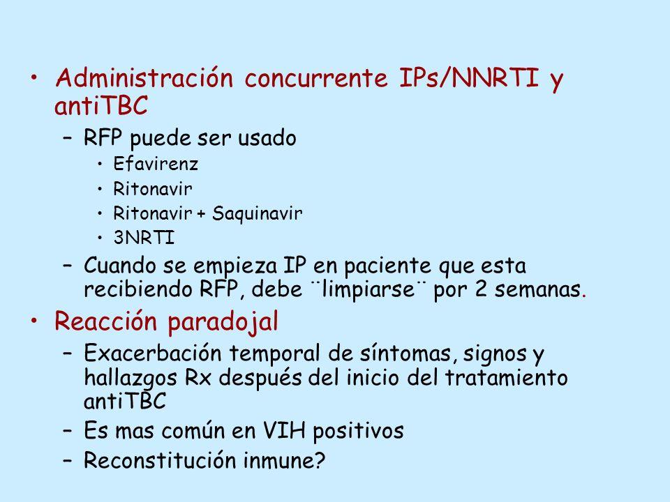 Administración concurrente IPs/NNRTI y antiTBC –RFP puede ser usado Efavirenz Ritonavir Ritonavir + Saquinavir 3NRTI –Cuando se empieza IP en paciente
