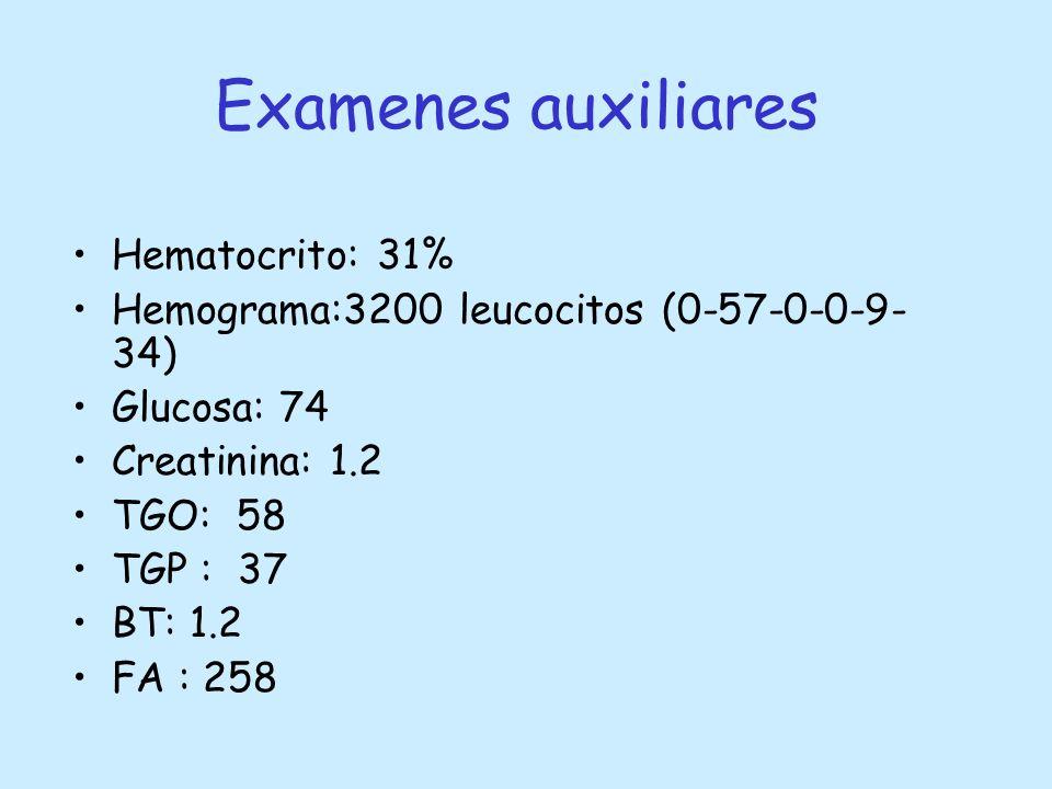 Examenes auxiliares Hematocrito: 31% Hemograma:3200 leucocitos (0-57-0-0-9- 34) Glucosa: 74 Creatinina: 1.2 TGO: 58 TGP : 37 BT: 1.2 FA : 258