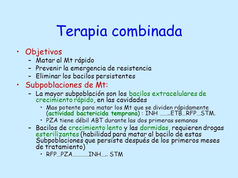 Terapia combinada Objetivos –Matar al Mt rápido –Prevenir la emergencia de resistencia –Eliminar los bacilos persistentes Subpoblaciones de Mt: –La ma