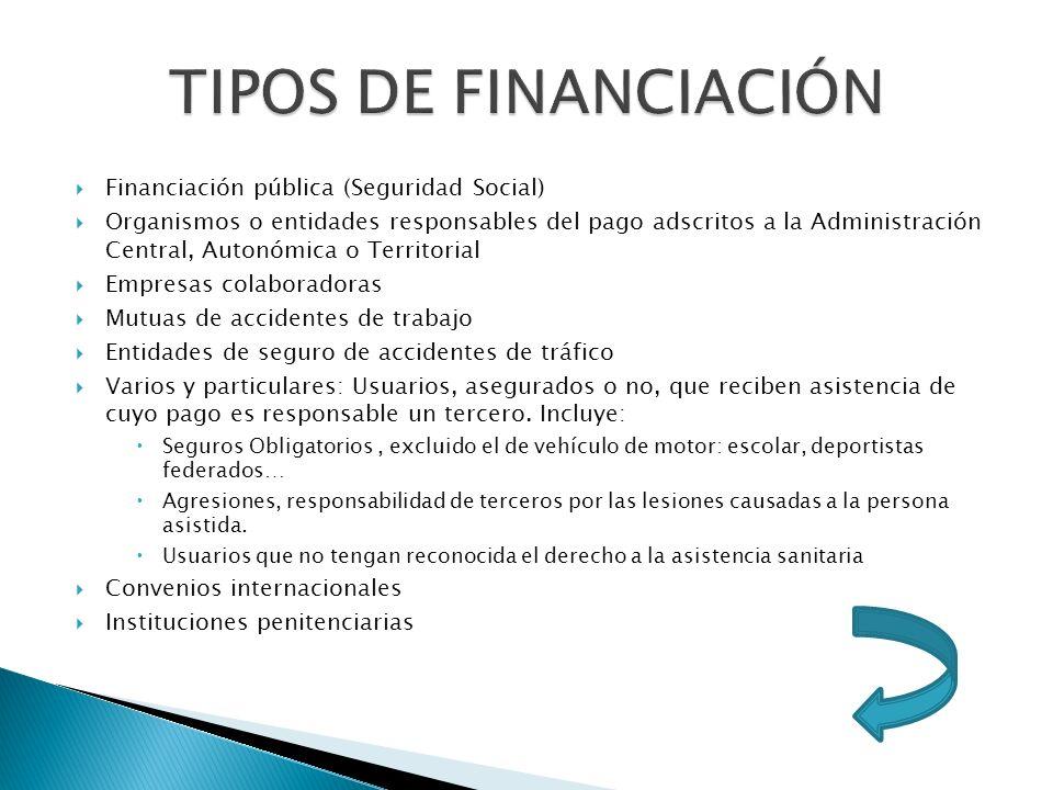 Financiación pública (Seguridad Social) Organismos o entidades responsables del pago adscritos a la Administración Central, Autonómica o Territorial E