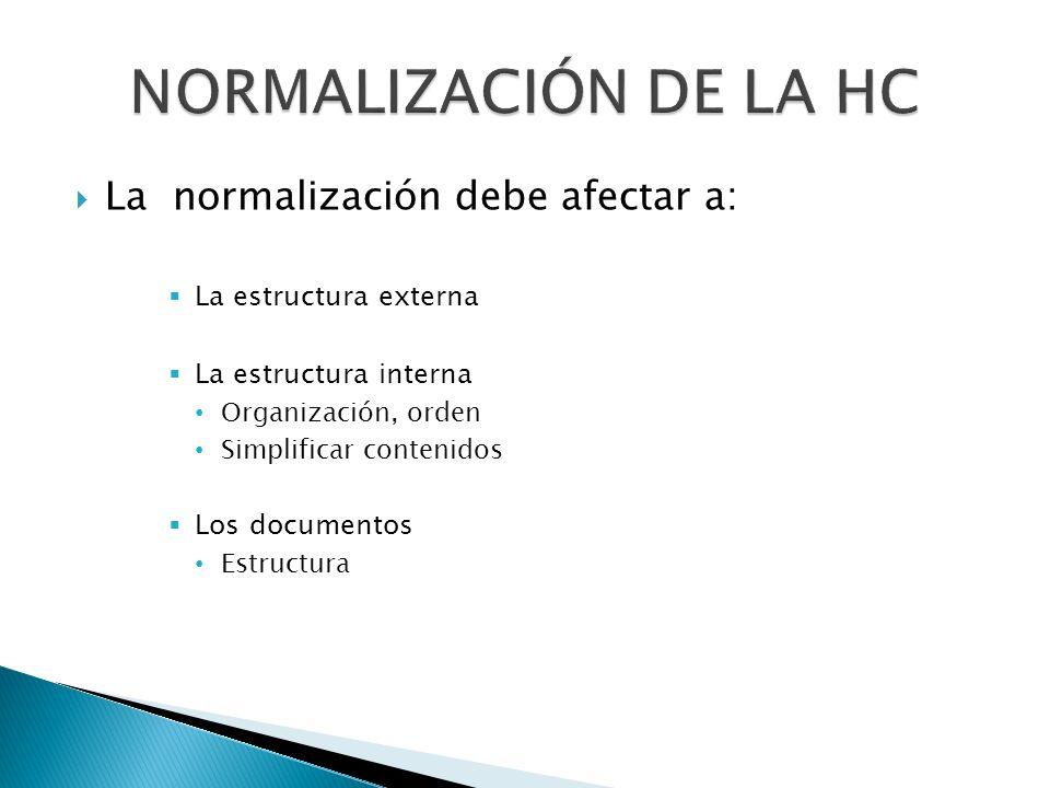 La normalización debe afectar a: La estructura externa La estructura interna Organización, orden Simplificar contenidos Los documentos Estructura