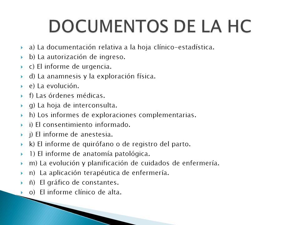 a) La documentación relativa a la hoja clínico-estadística. b) La autorización de ingreso. c) El informe de urgencia. d) La anamnesis y la exploración