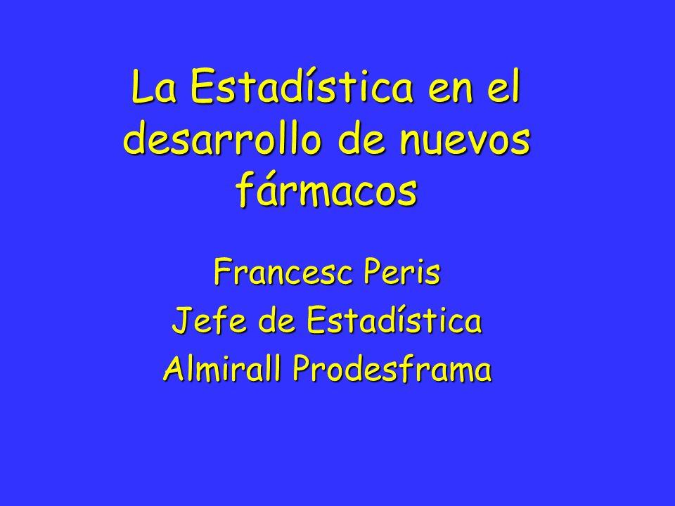 Enero - 01 / Francesc Peris La estadística en el desarrollo de nuevos fármacos 32 Protocolo: Diseño del estudio (3) c) Dosis escalonada FR: Fármaco de referencia * Incrementos dosis fijas o forzados D1 < D-2 < D-3 < D-4 en función de la respuesta D1 < D-2 < D-3 < D-4 en función de la respuesta