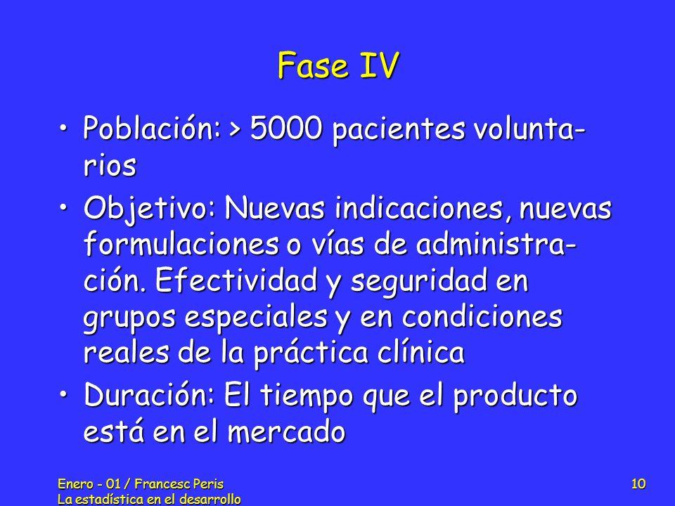 Enero - 01 / Francesc Peris La estadística en el desarrollo de nuevos fármacos 10 Fase IV Población: > 5000 pacientes volunta- riosPoblación: > 5000 p