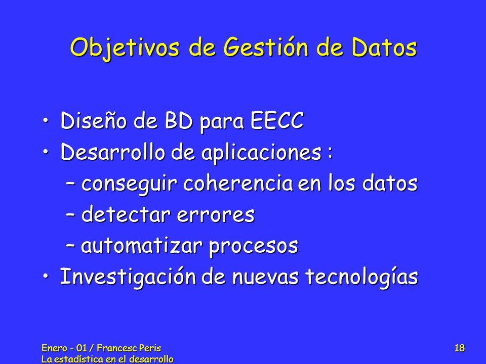 Enero - 01 / Francesc Peris La estadística en el desarrollo de nuevos fármacos 18 Objetivos de Gestión de Datos Diseño de BD para EECCDiseño de BD par