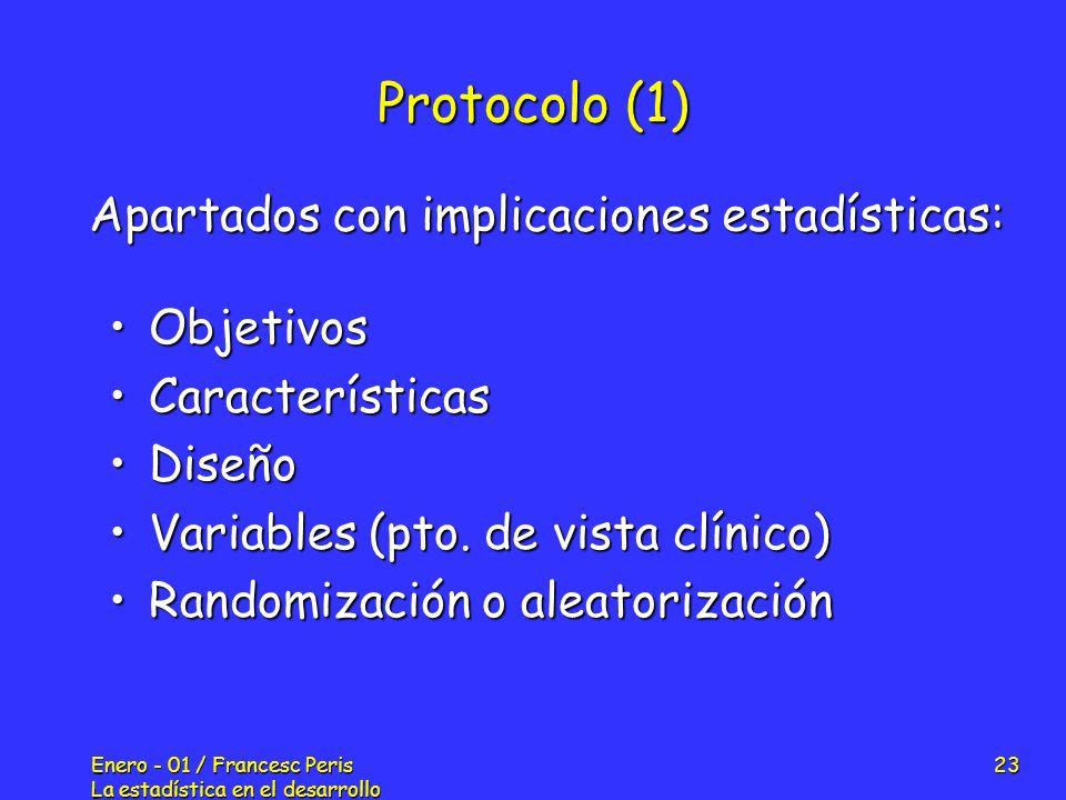 Enero - 01 / Francesc Peris La estadística en el desarrollo de nuevos fármacos 23 Protocolo (1) ObjetivosObjetivos CaracterísticasCaracterísticas Dise