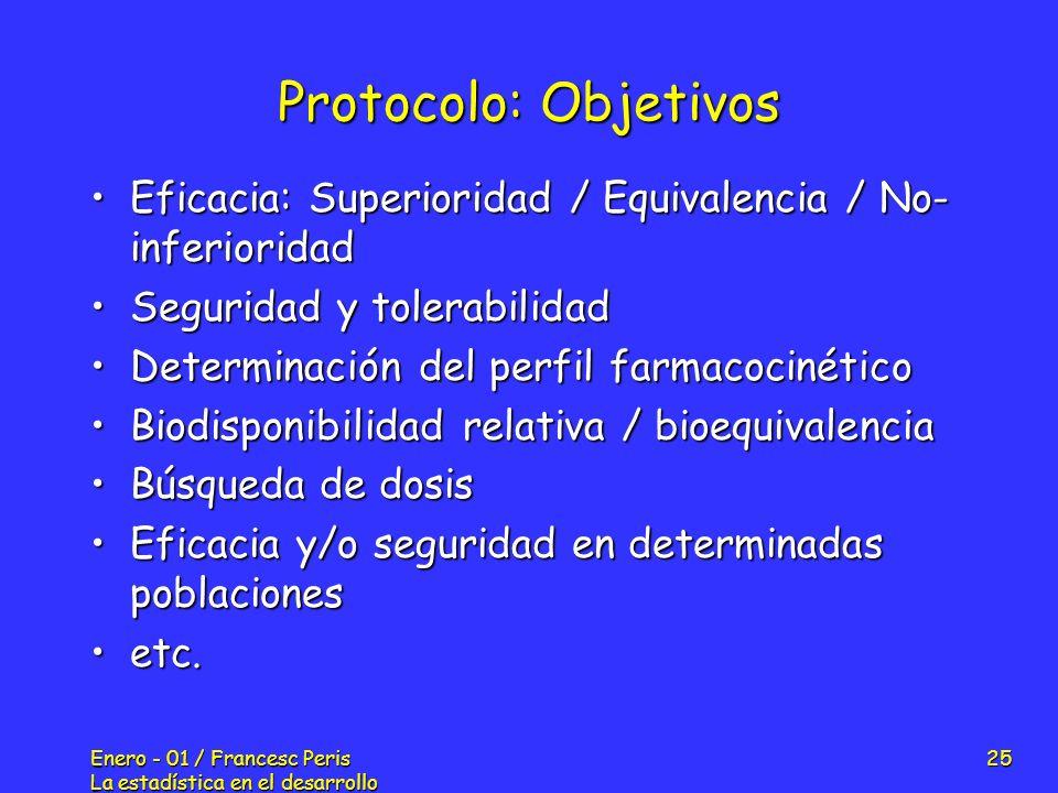 Enero - 01 / Francesc Peris La estadística en el desarrollo de nuevos fármacos 25 Protocolo: Objetivos Eficacia: Superioridad / Equivalencia / No- inf