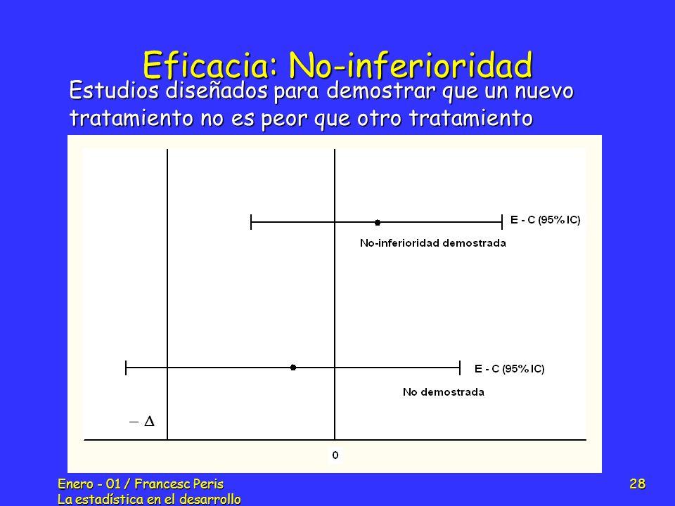 Enero - 01 / Francesc Peris La estadística en el desarrollo de nuevos fármacos 28 Eficacia: No-inferioridad Estudios diseñados para demostrar que un n